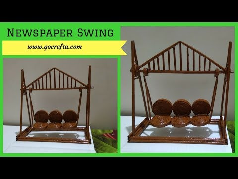 How to Make a Paper Swing / Making Jhula with Paper at Home | DIY MIniature Swing | Newspaper Craft