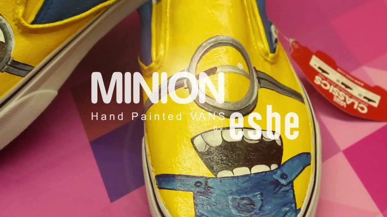 13f58e979e Minion Hand Painted VANS shoes by esbe - YouTube