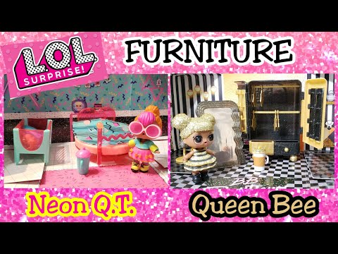 Unboxing LOL Surprise Furniture Queen Bee and Neon QT