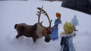 Frozen Princess Elsa and Her Sister Anna, Olaf, Sven Playing in the Snow