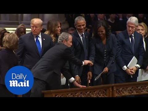 Hilary - George Bush sneaks candy to Michelle Obama