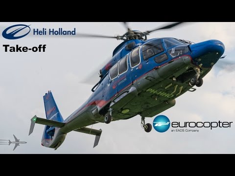 Heli Holland offshore Eurocopter EC155 (PH-HHO) Take-off from heliport Emmen