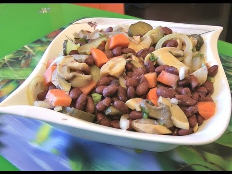 Салат с фасолью  овощной фасолевый салат  видео рецепт без регистрации и смс