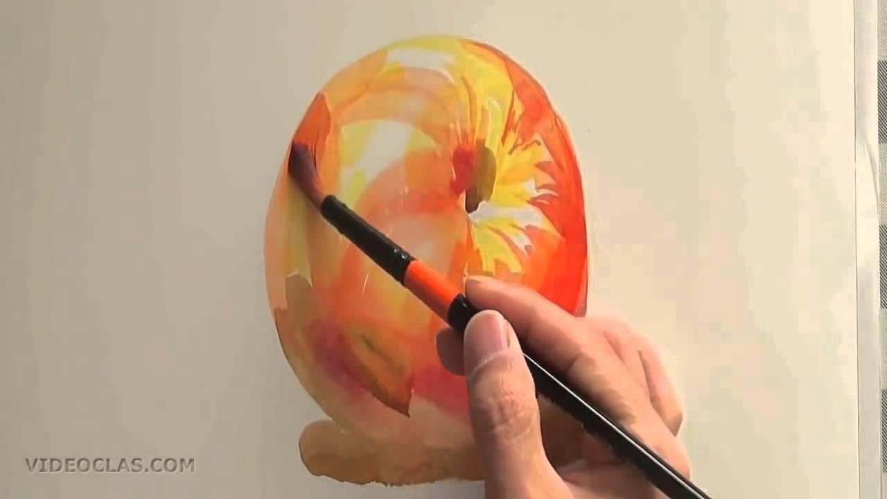Акварель как нарисовать Яблоко используя объемные мазки ...
