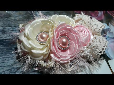 Tiara con flores para bebitas con MOLDE/ DIY SATIN LIST FLOWERS/