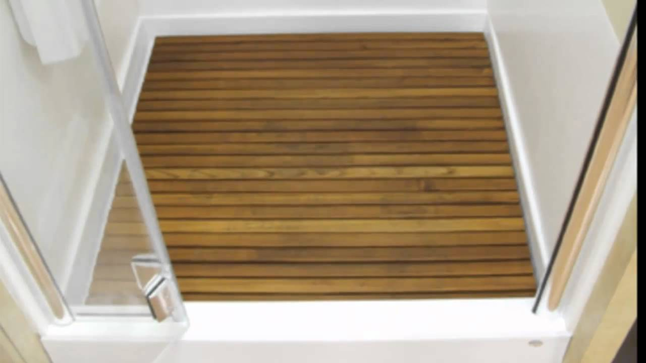 Teak shower matsquality teakteak shower mat largeteak wood shower floorteak wood shower mat youtube