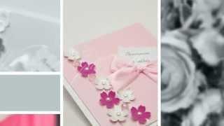 Приглашения на свадьбу ручной работы Gilliann Pink Flowers INV049