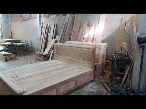 Giường ngủ gỗ Gõ - Mẫu triện công có ngăn kéo 2020