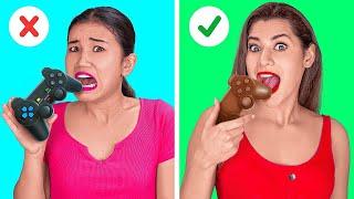 진짜 VS 초콜릿 음식 챌린지! || 123 GO! G…