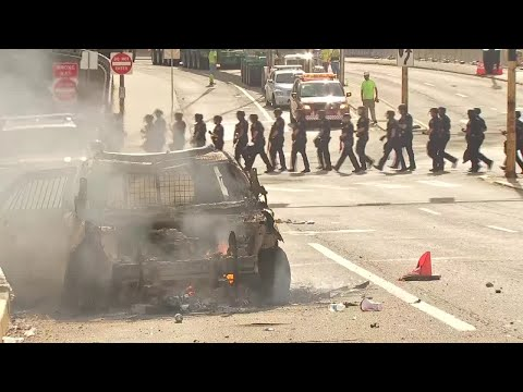 Police Vehicle Set On Fire During Violent Protests In Downtown Pittsburgh