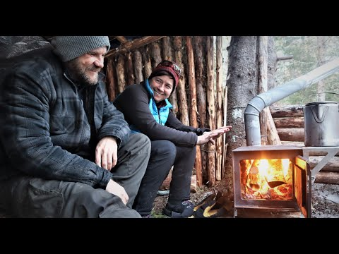 A Wood Stove at the Bushcraft Shelter Because We Kind of Have to - Overnight Stay!