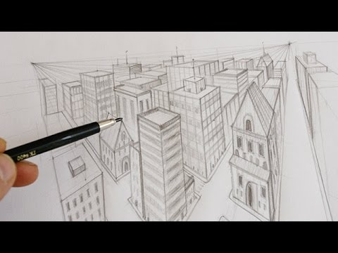 comment dessiner une ville en perspective youtube. Black Bedroom Furniture Sets. Home Design Ideas
