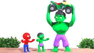 STRONG SUPERHERO LIFTS THE MOTORBIKE ❤ SUPERHERO BABIES PLAY DOH CARTOONS FOR KIDS