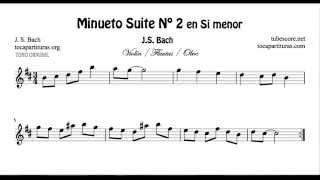 Bach Minuet Nº 2 B Minor Sheet Music for Flute Recorder Violin and Oboe