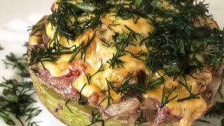 Фаршированный мясом кабачок