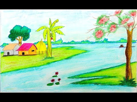 How To Draw A Village Scenery Step By Step With Oil Pastel - Easy Drawing For Kids