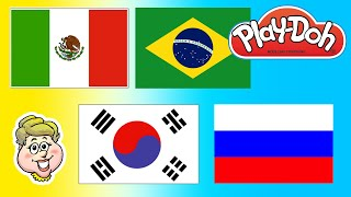 Play-Doh Flags of South Korea, Russia, Brazil, and Mexico!  EWMJ #56