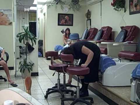 Nail salon lady (drumming on stools) super funny