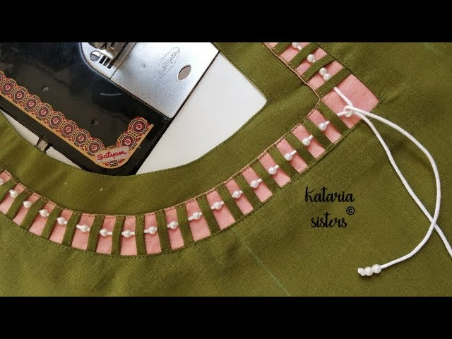 Stylish Dori neck design making