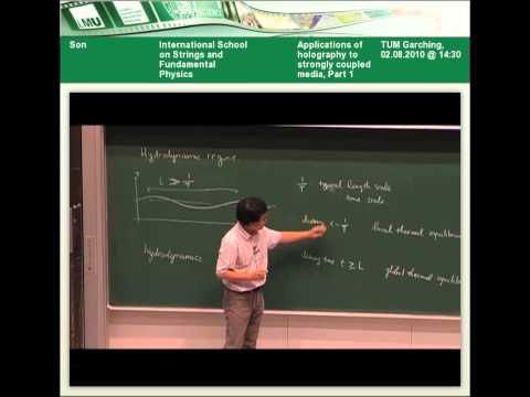 Dam Thanh Son - Applications of holography to strongly coupled media, Part 1