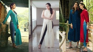 Stylish Kurtis With Jeans|| New Long Kurtis With Jeans||Latest Indo Western Kurti Designs For Girls