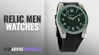 10 Best Selling Relic Men Watches [2018 ]: Relic Jake Stainless Steel & Black Rubber Strap Men