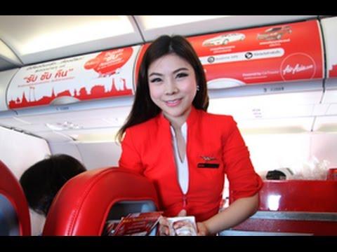 ดูแอร์สาวแอร์เอเชียแนะนำการใช้อุปกรณ์ความปลอดภัยบนเครื่องบิน เที่ยวบินกรุงเทพฯ- ร้อยเอ็ด Airasia