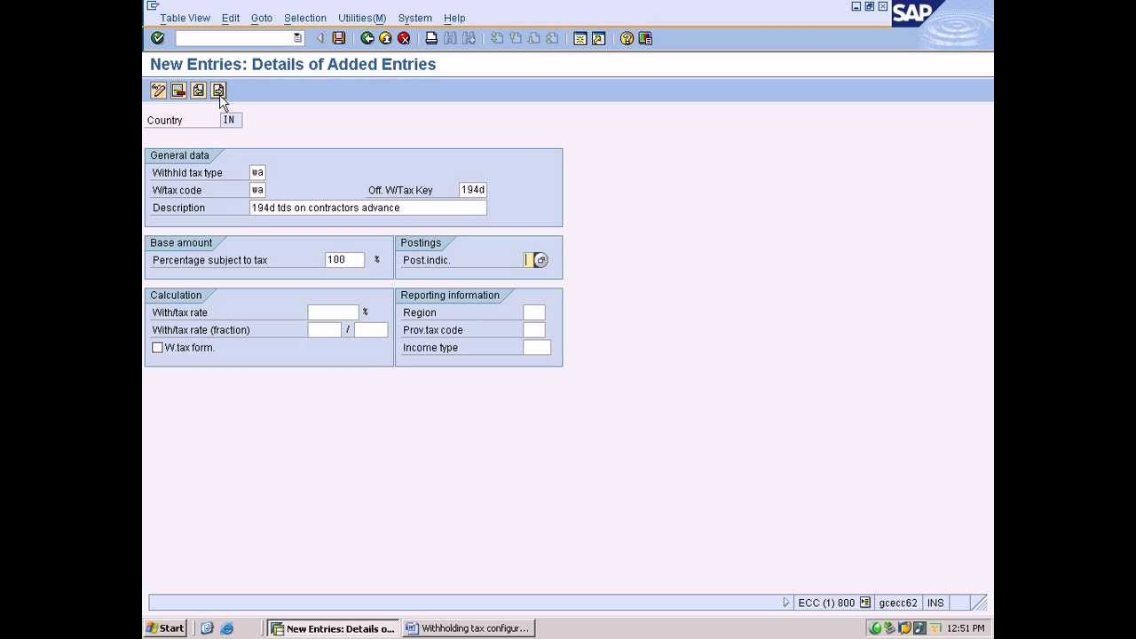 second image for Define Withholding Tax Codes In Sap Fico with sap fico cin training - define withholding tax types - YouTube