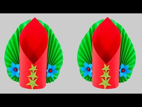 Making Paper Flower Vase - Paper Craft - DIY Paper Flower Vase - Easy Paper Vase