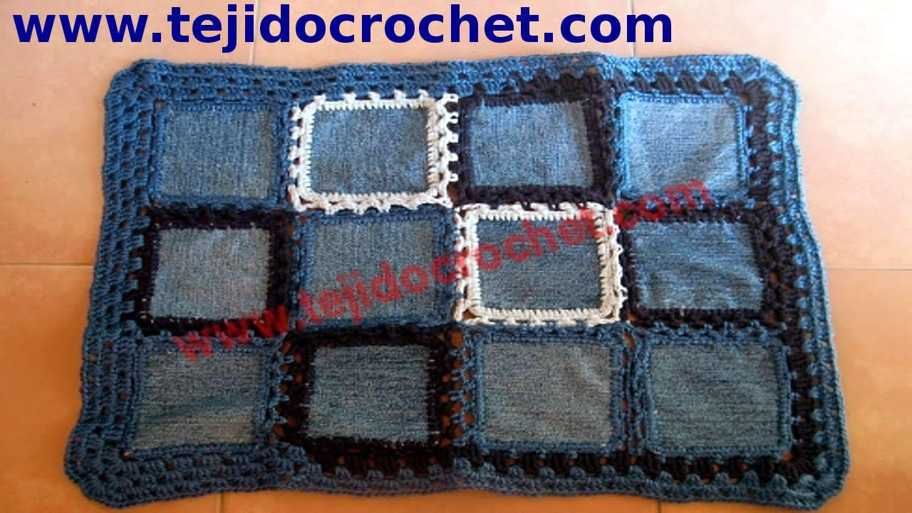 Alfombra de jeans en tejido crochet tutorial paso a paso for Tejidos de alfombras