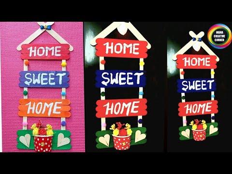 Beautiful #popsiclestickscraft# to decorate your home #DIY icecream sticks wall decor craft idea#