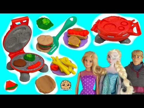 Barbie BBQ Doll Party With Disney Frozen + Playdoh Burger Barbecue Food Maker