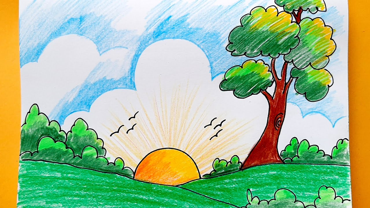 How To Draw Easy Scenery Easy Landscape Scenery Drawing Youtube