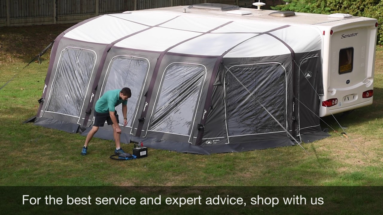 Sunncamp Icon Air Awning Pitching Packing With Electric Pump Video Youtube