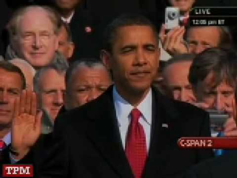 Barack Hussein Obama Takes The Oath Of Office