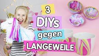 3 Pinterest DIYs gegen Langeweile ♥ Einhorn Piñata 🦄, Regenbogen Tassen 🌈 & Marmorierte Schalen