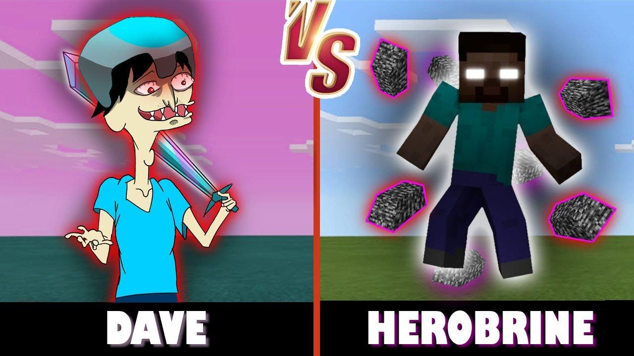 (me) Dave vs. Herobrine | Minecraft (IM STRONGER THAN HIM!)