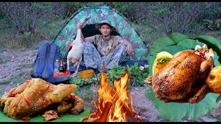 BUSHCRAFT COOKING DUCK WITH ALUMINUM RECIPE AT PHNOM KROM MOUNTAIN AND SEE SUN SET ►RELAX LIFE
