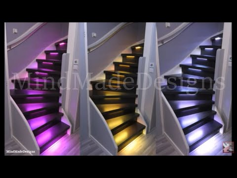 How to make your own stairs in house modern with led lighting and mount new treads risers