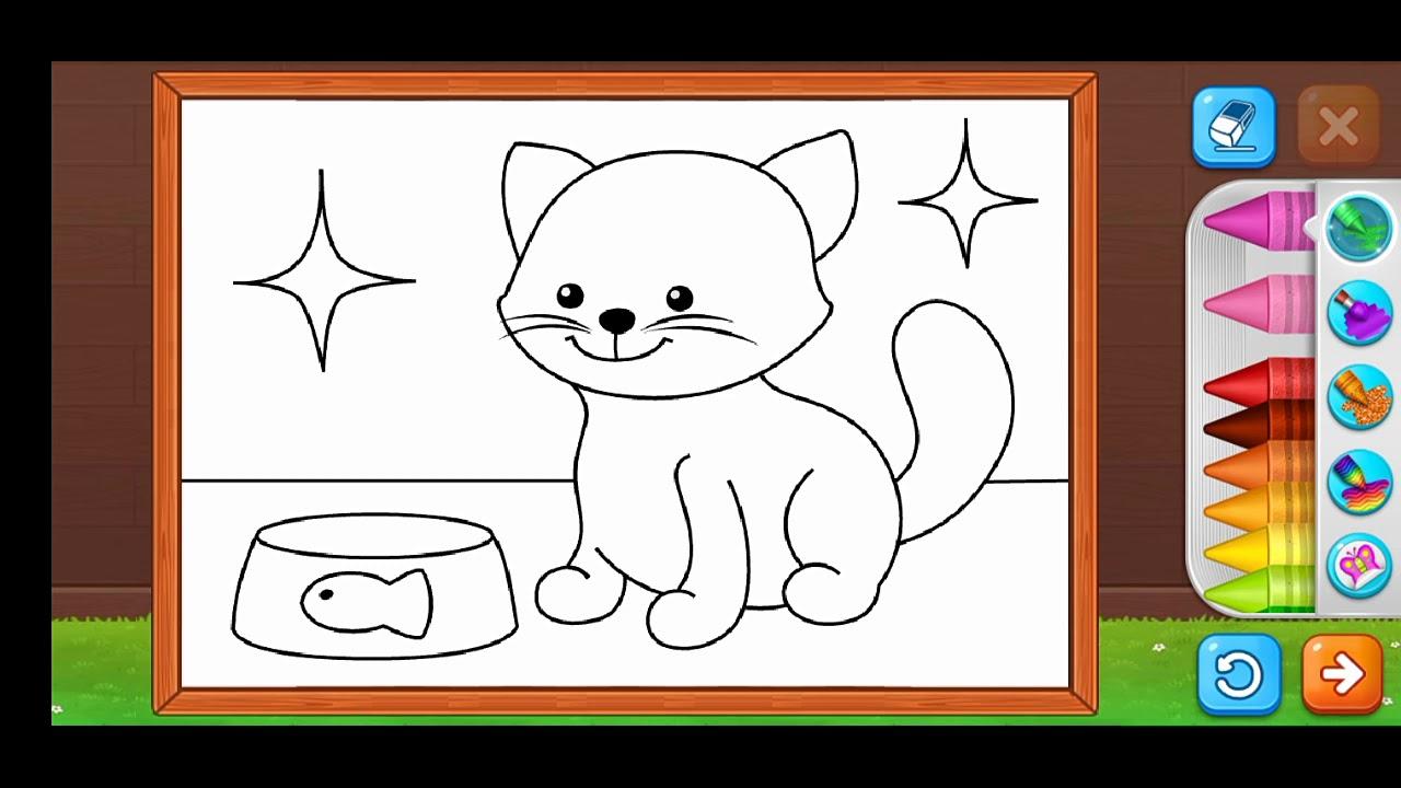 Gambar Kucing Mewarnai godean.web.id