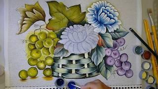 Aprenda a Pintar Crisântemos Folhas e Cesta
