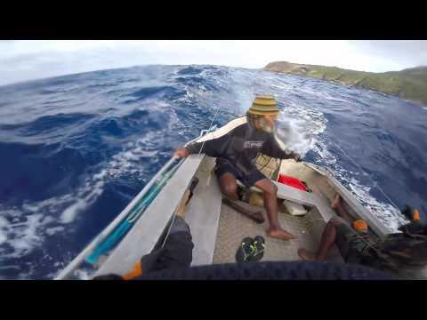 Big swell in a tinny - Vanuatu
