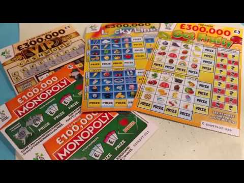 Scratchcards...GET FRUITY...LUCKY LINES...V.I.P.CASH WORD..MONOPOLY