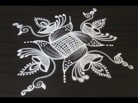 Creative new rangoli and kolam designs drawn for Diwali 2018 || Deepavali muggulu