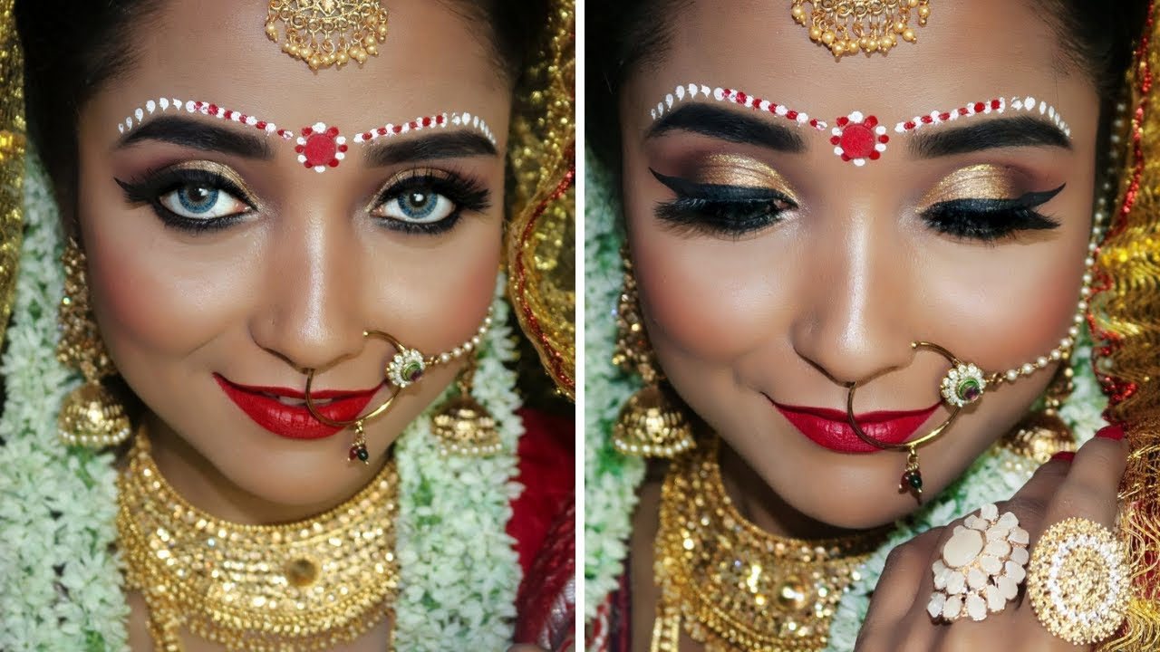 traditional bengali bridal makeup tutorial for beginner - easy indian bridal makeup with hair style