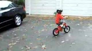Three-Year Old Riding His Bike With No Training Wheels