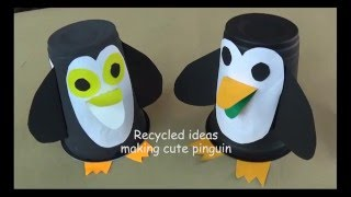 Recycled projects : How to make pinguin using plastic cup