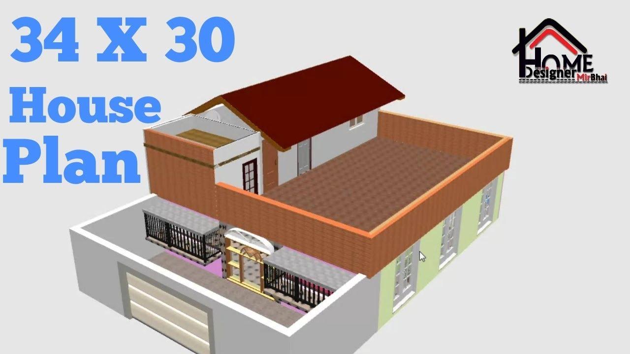 34 X 30 West Face House Plan 2bhk Ground Floor Plan 3d House