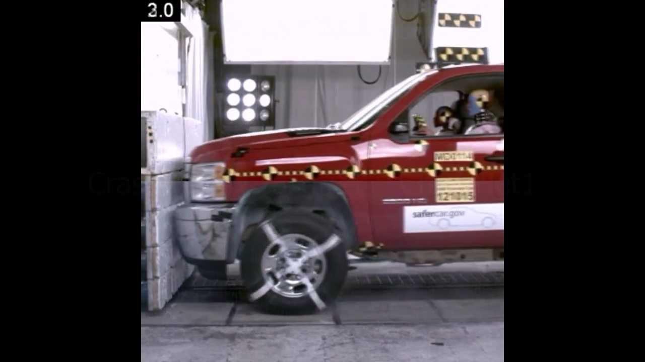 2013 Chevy Silverado 2500 HD / GMC Sierra | Frontal Crash Test | NHTSA | CrashNet1 - YouTube