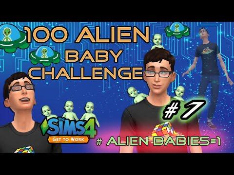 The Sims 4: Get to Work - 100 Alien Baby Challenge Pt 7 (Alien Baby #1)